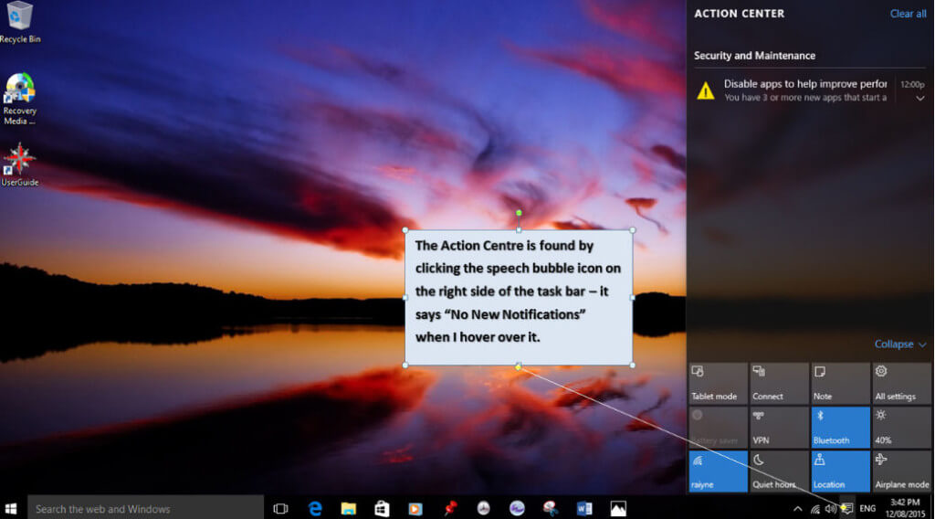 Win 10 Action Centre