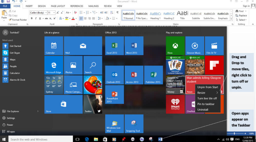 Windows 10 Adjusted Start Menu