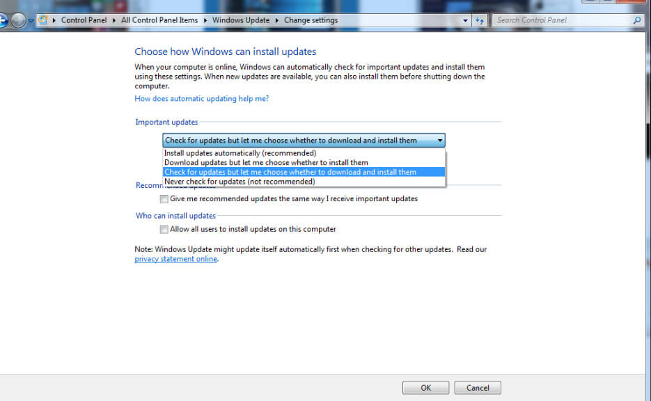 Microsoft Windows Update Settings